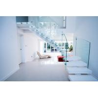 Quality Interior white color curved staircase with glass railing design for sale