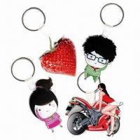 Quality 3mm Transparent Acrylic Keytags with Laser Cut and CMYK/W/CMYK Printing, Measures 6 x 6cm for sale