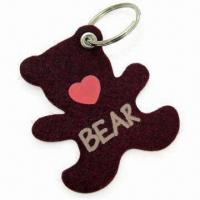 Quality Cute Bear-shape Keychain, Measures 6 x 7cm, Made of 3mm Felt Material for sale