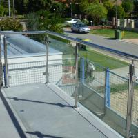 China Exterior Stainless Steel Frameless Glass Frosted Deck Railing / Glass Deck Post on sale