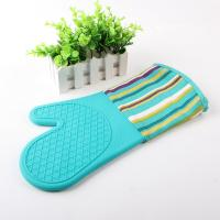 Quality Half Silicone Half Cotton Heat Insulating Cooking Kitchen Oven Mitts Stripe Pattern for sale