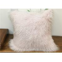 Quality Home Decorative Cream Mongolian Fur Pillow Comfortable With Long Curly Hair for sale
