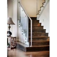Quality Carbon steel straight staircase with wooden tread modern design for sale