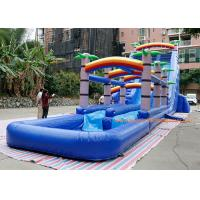 Quality water slide factory PVC Tarpaulin  coconut tree inflatable commercial slide with pool  For Event inflatable Bounce Slide for sale