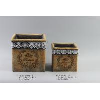Quality Diy Cement Flower Planters Garden Pots With Intaglio Flower And Ribbon Decorated 17.7 X 17.7 X 17 Cm for sale