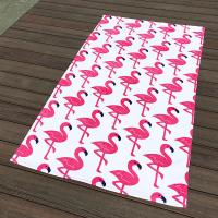 Buy cheap Pink Crane White Pool Beach Towels Non - Fade Water Based Prints For Picnic Cover from wholesalers
