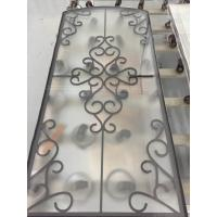 Quality decorative black color wrought iron glass for doors for sale