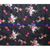 Quality Flowers Embroidery Black 100 polyester fabric for Kids' and Women's for sale