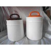 Quality White Dolomite Ceramic Cookie Jar Coffee Box With Orange Lid 10.5 X 10.5 X 17.6 Cm for sale