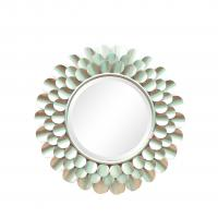 Quality Silver finish sunburst flower shape metal frame wall mirror with centre bevelled mirror for sale