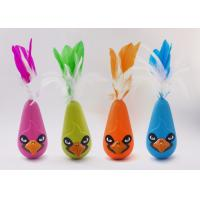 Quality Bird Shaped Design Wobble Cat Toy Non Toxic Material With Natural Feathers for sale