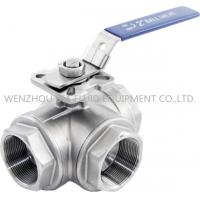 China 316 CF8M 3 Way Sanitary Ball Valve With Casting Body , 1-1 / 2 Inch Ball Valve for sale