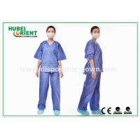 Blue SMS Scrub Disposable Protective Gowns For Doctor / Patient , Size Customized for sale