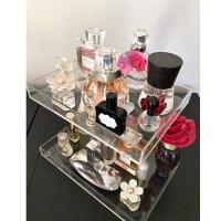 Quality 3 Tier Acrylic Display Stand /  Square Acrylic Makeup Display Stand Perfume Trays Transparent for sale