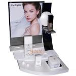 Quality Plexiglass Cosmetic Makeup Organizer Retail POS Displays White Retail Ladder Shaped for sale