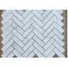 Carrara White Herringbone Marble Mosaic Tile For Bathroom Square Shape for sale