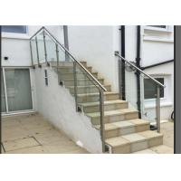Quality Side Mount Glass Balustrade Stainless Steel Handrails , Steel And Glass Stair Railing for sale