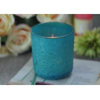 Quality Beautiful Wedding Gift Feather Painted Glass Candle Holders Decorative Candle Jars for sale
