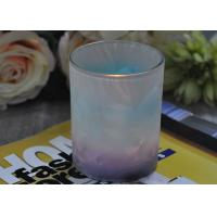 Quality Unique Design Glass Candle Holders Feather Painted Candle Glass Jars for sale