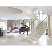 Quality Stainless steel straight staircase with marble tread glass balustrade for sale