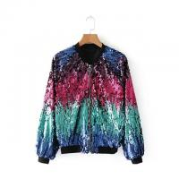 Quality Ladies Ma1 Bomber Jacket With Gradient Sequin Design 100% Polyester for sale