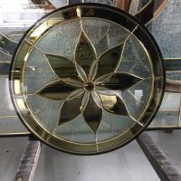 Quality New design decorative window glass 25.4MM thickeness with brass caming for sale