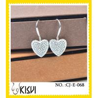 China 2012 charming silver heart shape handcrafted crystal jewelry earings on sale