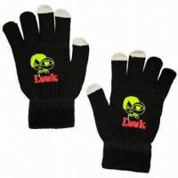 Quality Touch screen gloves, made of acrylic with special conductive material in 3 finger tips, sold by pair for sale