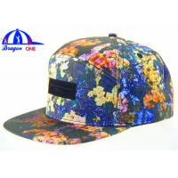 Quality Custom Fashion Wholesale 5 Panel Camp Cap / Snapback Caps With Leather Patch for sale