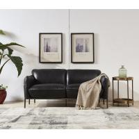 Steel Frame Black Leather Two Seater Settee Contemporary Black Two Seater Sofa For Sale 91184957