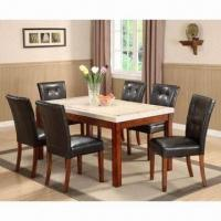 Buy cheap 7-piece Dining Set, Made of Wood and PVC Sponge Cushion from wholesalers