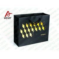 Quality Golden Hot Stamping Wedding Paper Gift Bags With Ribbon Handles for sale