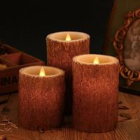 Quality Set of 3 Bark Simulation Pillar LED Candles with 10-Key Remote and Cycling 24 Hours Timer for sale