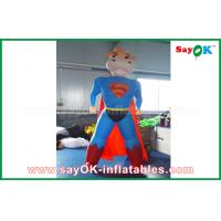 Quality Blue / Red Inflatable Superman Cow Customized Animal Character Inflatable Model for sale