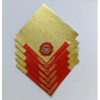 Quality Golden Aluminum Custom Foil Stickers Embossing Lacquer Coated Surface for sale