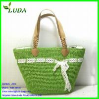 China Green Paper String Handbags with white Sash w/Beads Handles on sale