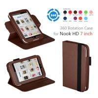 China HD 7 Leather 360 Degree Rotating Nook Covers And Cases With Stand Coffee Color on sale