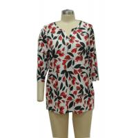 China Flowered Printed Fancy Ladies Casual T Shirts Women'S 3 4 Length Sleeve Tops on sale