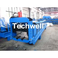 Quality Metal Top Ridge Tile Roll Forming Machine With 15 Forming Stations , PLC Control System for sale