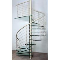 Quality Interior spiral staircase with wooden steps glass railing design for sale