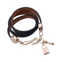 Brown Color Women's Leather Wrap Bracelets With Lock And Key Charm