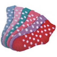 Quality Polka dot pattern Polyester plush socks with aloe infused , spa socks for sale