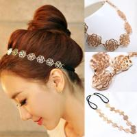 Quality Womens Fashion Metal Chain Jewelry Hollow Rose Flower Elastic Hair Band Headband for sale
