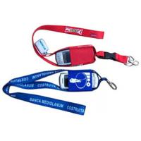 Quality Red keychain lanyard with mobile phone strap for sale