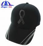 Quality Customs 5 Panel Cap Black Ottoman Cap , Crystal Logo Cap Oem for sale