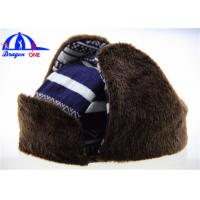 Quality Customized Adult Earflag Warm Winter Hats with Checked Cotton / Fake Fur for sale