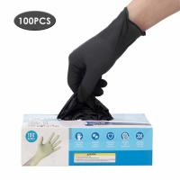 Quality Latex Free Disposable Medical Gloves Anti Allergic High Wear Resistant Black Color for sale