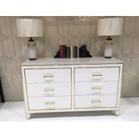 Quality White High Gloss Hotel Room Dresser 6 Drawers With Metal Strip , PU Lacquer Paint for sale