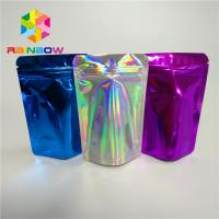 China Cosmetic Glitter Powder Snack Food Packaging Bags Shiny Holographic Hologram Mylar Pouch on sale
