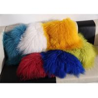 Quality Red / Blue 18 Inch Long Sheep Fur Pillow , Mongolian Fur Outdoor Throw Pillows  for sale